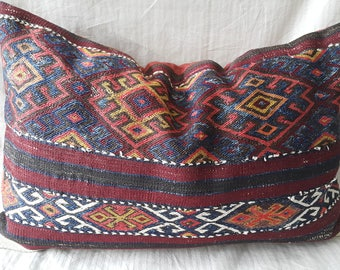 "Kilim Pillow, 16×24""İnches, Lumbar Kilim Pillow, Kilim Pillow, Cushion Cover, Decorative Pillow, Ethnic, Lumbar Pillow, Antic Kilim Pillow"