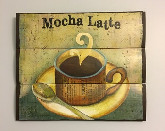 Mocha latte coffee wooden wall decor - Kitchen decor - Wooden wall art