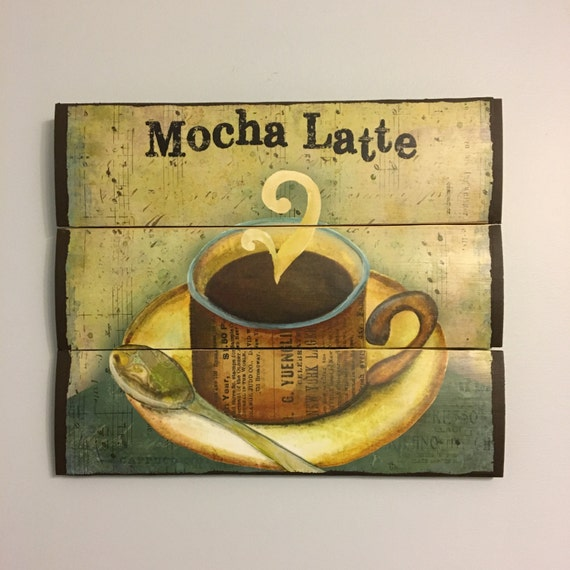 Mocha Latte Coffee Wooden Wall Decor Kitchen Decor Wooden