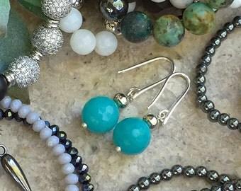 Bar Stud Earrings, Sterling Silver Earrings, Studs, Jewelry, Gift, Silver Gemstone Earrings, Hammered Silver Earrings,Mood Earrings