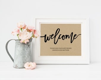 Wedding Sign Template   Guestbook Welcome Sign   Wedding Sign   Printable Wedding Sign   5x7 & 8x10   EDN 5480