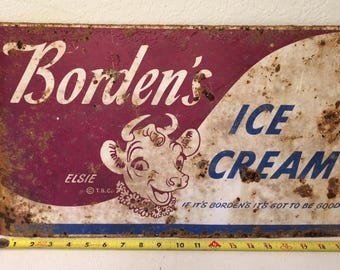 Double Sided Borden's Ice Cream Sign, Vintage Ice Cream Sign, Ice Cream Sign, Elsie the Cow, Vintage Sign, Metal Sign, Advertising Sign