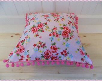 cushion by chookeys pink flower bobble design