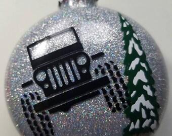 Jeep glittered Christmas ornament..