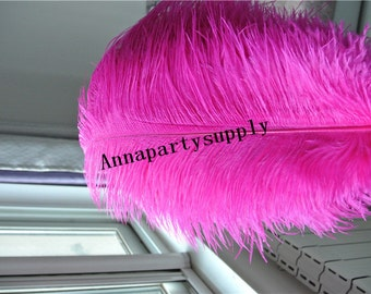100 pcs hot pink  fuchsia ostrich feather plume for wedding party supply wedding centerpiece
