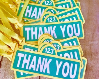 Thank you tags, Sesame Street sign, bag, tags, favor tags, favor Bags