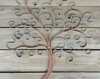 Metal Tree Wall Decor, Iron Tree of Life in Copper and Verde Finish