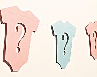Gender reveal garland.  Gender reveal banner.  Gender reveal decor.  Gender reveal pins.  Gender reveal party decor.  Boy or girl banner