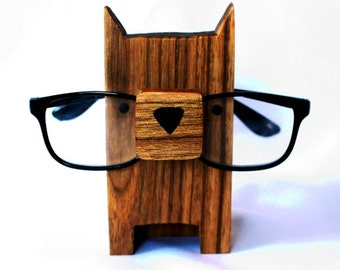 Wooden Dog Eyeglass Stand
