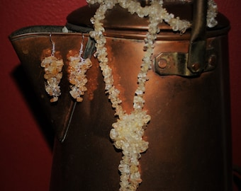 Citrine Chip Necklace and Earrings Set