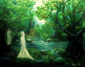 Fantasy art canvas wall art painting holiday gift for sister womens gift gallery art magic forest unusual picture woman art fairy tale decor