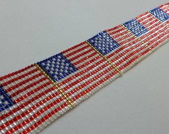 American Flag Beaded Bracelet
