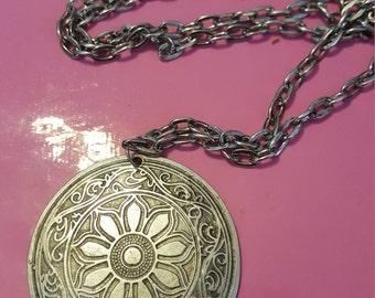 Silver Flower Design Pendant Necklace