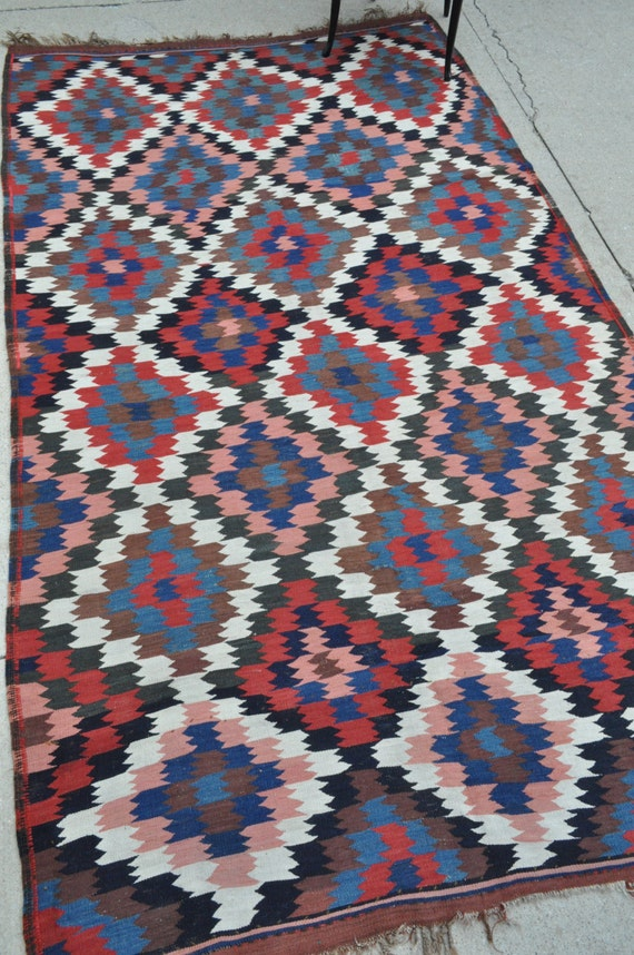 Antique Persian Tribal kilim - 5'4 x 9'1 - 162 x 276 cm. Free shipping!