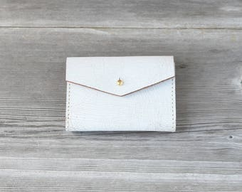 Leather Short Wallet // Distressed White Crackle
