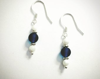 Sea glass and mother of pearl dangle earrings / silver plated hook / matching jewelry