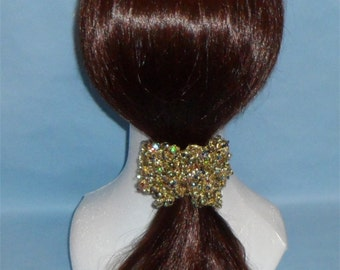 Gold Scrunchie with jewel-colored sequins, metallic scrunchie, Bling scrunchie