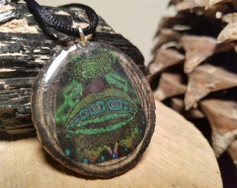 Wooden Pendant Inlaid with Crystals // Leaky Breath // Art by Seth Wright // Orgonite