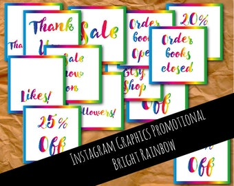 Easter stickers easter labels easter favours easter gifts instagram graphics promotional bright rainbow graphics instagram template instagram images negle Choice Image
