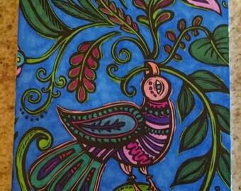 Bird design wooden postcard
