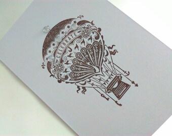 Handmade, card, hot air balloon, hot air balloon card, steampunk,  steampunk card, birthday card, blank card, blank Christmas card, men, man