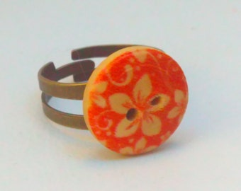 Button ring, handmade ring, handmade button ring, flower ring,  flower button ring, upcycled ring, multisize ring, orange ring, cute ring