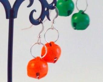 Handmade, bell earrings, ORANGE earrings, bell drop earrings, jingle bell, bells, handmade earrings, handmade bell earrings, drop earrings