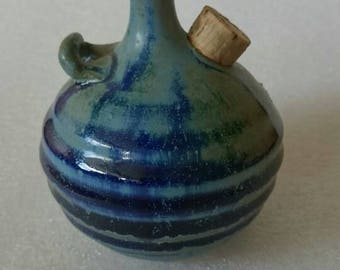 Klaas Fenne oil lamp in blue and grey,  Dutch designed, art pottery, collector's item,  marketed,