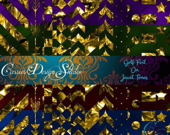 Gold Foil on Jewel Tones Digital Paper