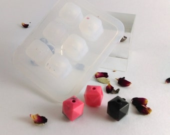 12mm and 9mm Square faceted beads silicone mold to make up to 6 beads; keep sake, 2mm drilled hole ; sphere bead jewellery