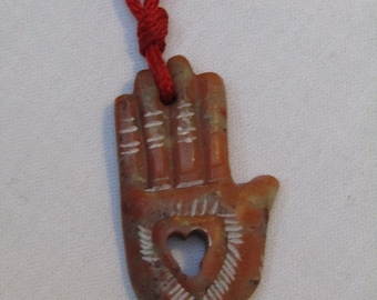 Hand Carved Hamsa Hand Pendant from Marble. 3.5cm
