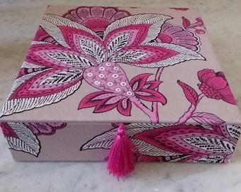 Scarf box, Box for silk scarves, Box for Hermès scarves, Decorative box, Manuel Canovas fabric, Keep all box