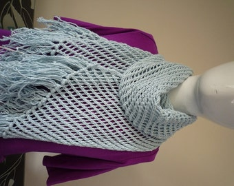 Blue hand knit lace scarf