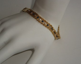 Genuine Sapphire with Clear Rhinestone Gold Plated Bracelet