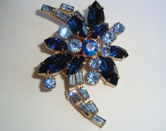 Vintage Shades of Blue Rhinestone Brooch