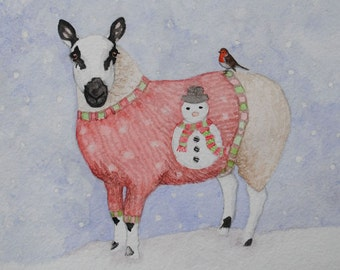 Kerry Hill Ewe in a Christmas Jumper Pack of 10 Christmas Cards