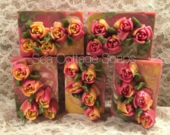 """Love Spell Scented """"Spring Fever"""" Piped Tulips Artisan Cold Process Bar Soaps-Vegan"""