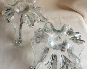 Vintage Blenko Hand Made Glass Candle Holders