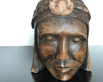 Vintage Carved Wood Head -Tribal- Native- Exquisite!