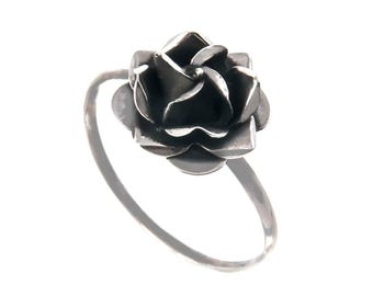 Sterling Silver Rose Adjustable Ring, Oxidized Rose Ring, Shiny Rose Ring, Love, Friendship Gift, Valentine's day, Mother's day gift,