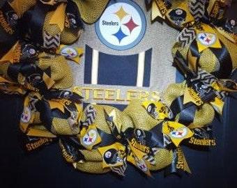 Pittsburg Steelers Burlap Wreath