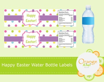 Easter Water Bottle Wraps, Custom Happy Easter Water Bottle Labels, Waterproof Labels, Happy Easter