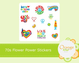 70s Flower Power Stickers, Peace Sign Stickers