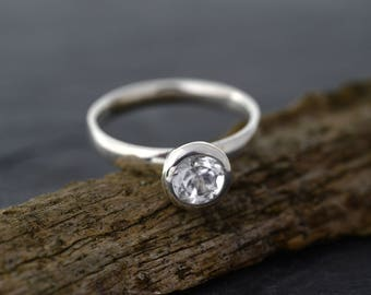White Topaz Ring in 925 sterling silver-White Topaz Solitaire Ring-Stackable ring-FREE SHIPPING-Ready to ship