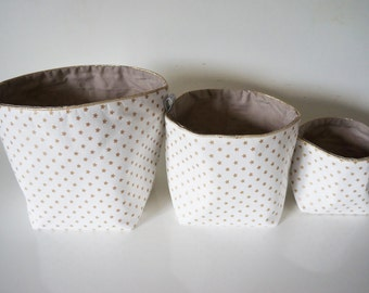 New dimensions * set of 3 baskets in fabric cotton reversible