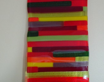 Fused glass wall hanging with stripes