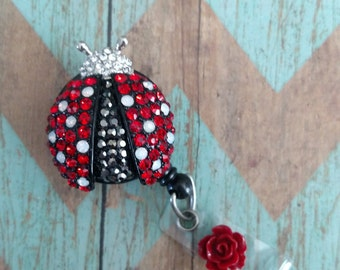 Blingly lady bug badge reel, girly badge holder, retractable ID card holder, nurse gift, teacher gift, graduation gift, appreciation gift