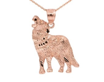 10k Rose Gold Wolf Necklace