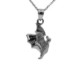 925 Sterling Silver Bat Necklace