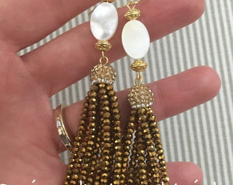 Mother of Pearl Beaded Tassel Earrings - statement earrings, party jewelry, pavé, dressy, wedding jewelry, gold, pearl earrings